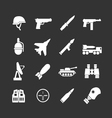 Set icons of army and military vector