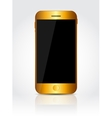 New realistic gold mobile phone with black screen vector