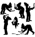 Detective silhouettes vector
