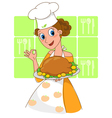 Pretty chef with roast chicken vector