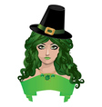 Leprechaun lady in black hat vector
