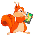 Funny squirrel with navigator vector