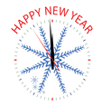 Clock with snowflake for new year vector