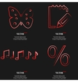 Set of red web icon flat design simple sticker vector
