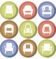 Sofas icons set flat design vector