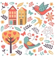 Colorful composition with birds flowers and vector