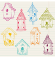 Cute bird house doodles vector