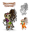 Halloween monsters scary cartoon rotten zombie vector