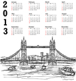Tower bridge 2013 calendar vector