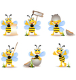 Cute bee cartoon collection vector