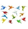 Abstract origami hummingbirds design elements vector
