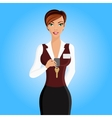 Woman hotel receptionist portrait vector