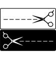 Cut line and scissors vector