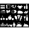 Set food objects on black background vector