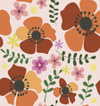 Seamless pattern with orange poppies vector