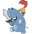 Little hippopotamus knight cartoon vector