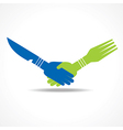 Businessman handshake through restaurant forks vector