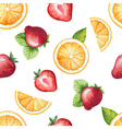 Seamless pattern watercolor fruit strawberry and o vector