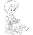 Schoolboy completing his schoolbag vector
