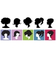 Silhouette girl with hairstyl vector
