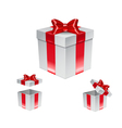 Set of gift box with red bow isolated on white vector