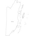 Black white belize outline map vector