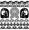 Ancient america set with patterns small vector