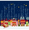 Christmas cartoon background with city vector