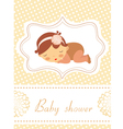 Baby shower card with sleeping baby girl vector
