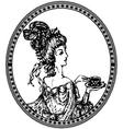 Vintage lady vignette vector
