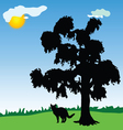 Cat under a tree in the park vector