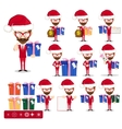 Santa man with gifts set vector