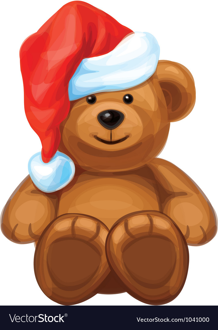 Brown bear in red santas hat vector | Price: 1 Credit (USD $1)