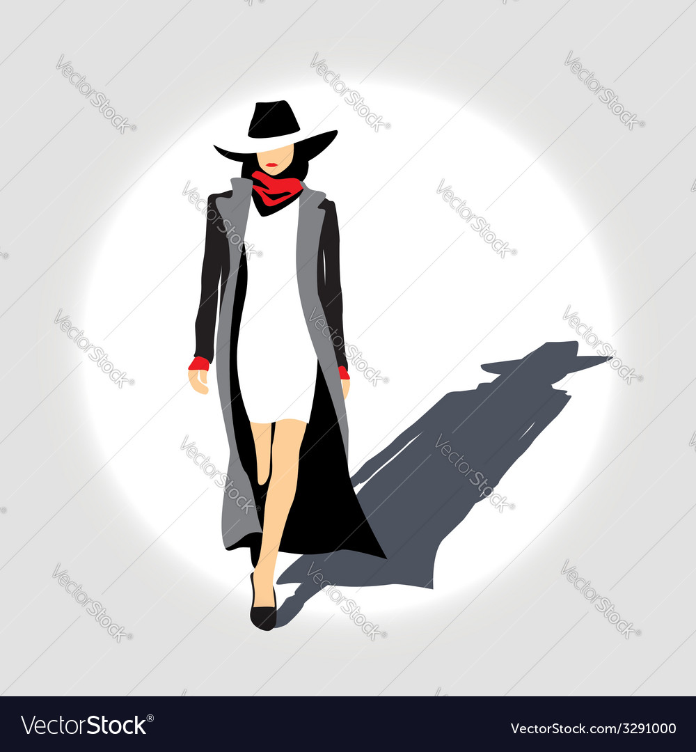 Business lady with hat vector | Price: 1 Credit (USD $1)