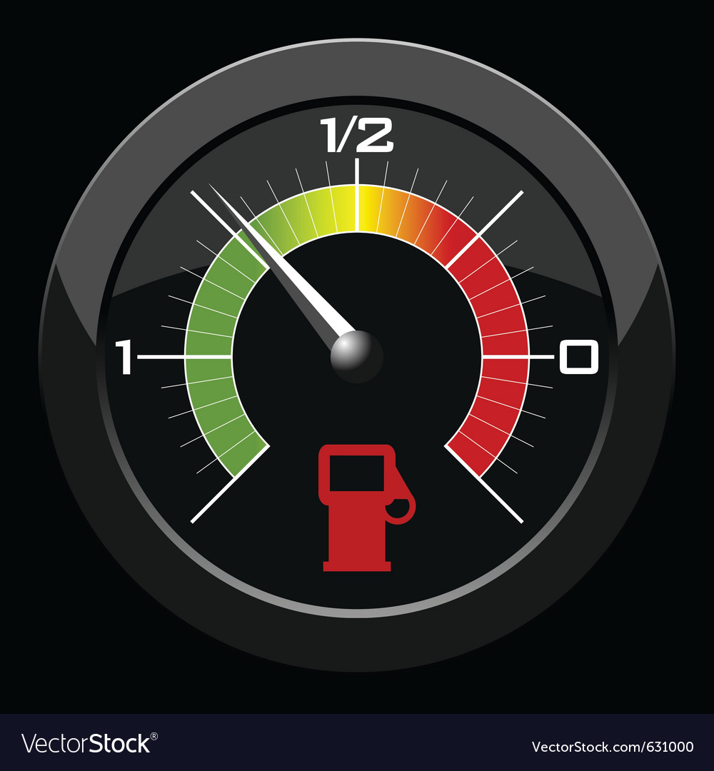 Fuel gauge colored scale over black background vector | Price: 1 Credit (USD $1)
