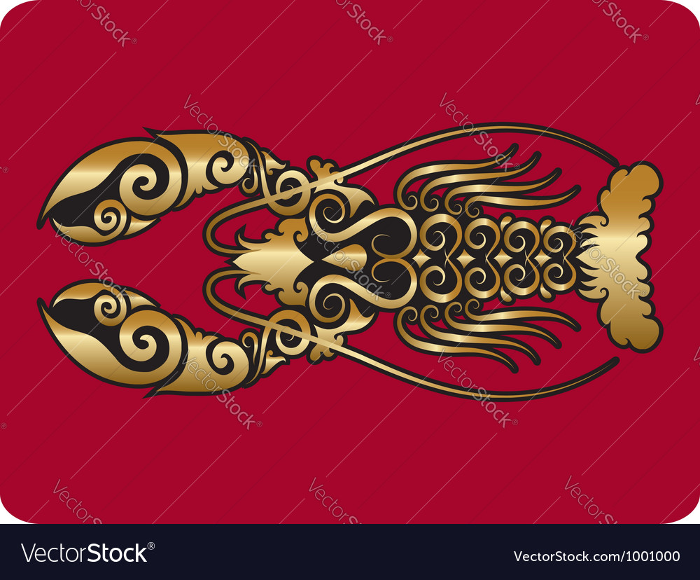Golden lobster ornament vector | Price: 1 Credit (USD $1)