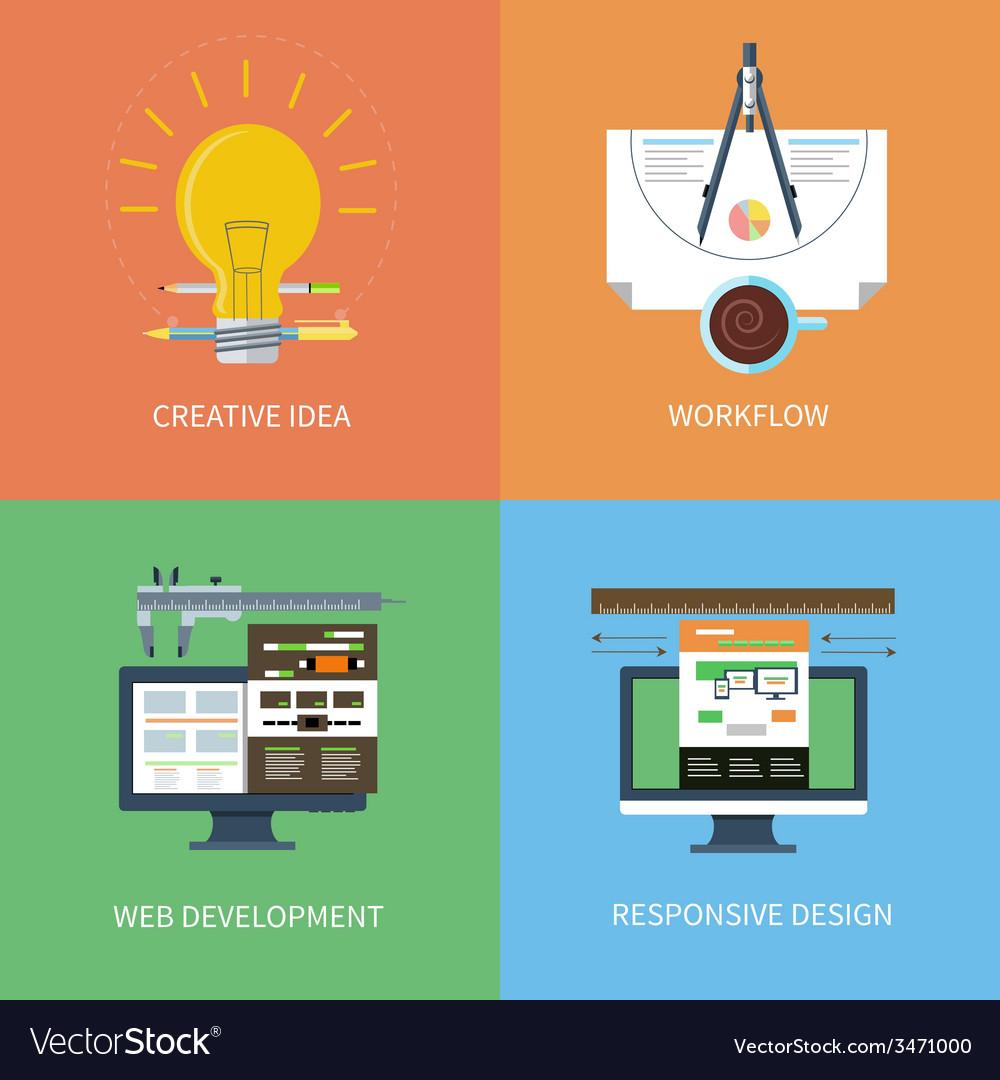 Idea design web development workflow icons set vector   Price: 1 Credit (USD $1)
