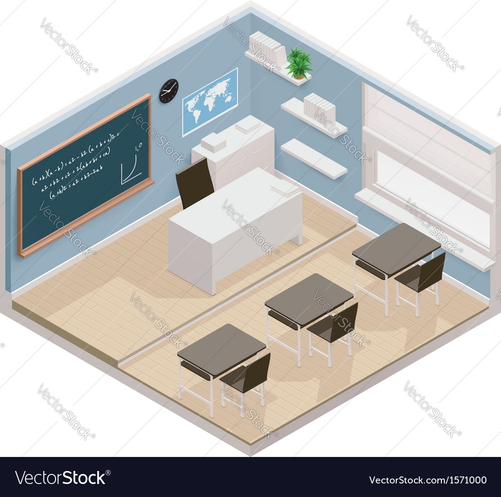 Isometric classroom icon vector | Price: 1 Credit (USD $1)