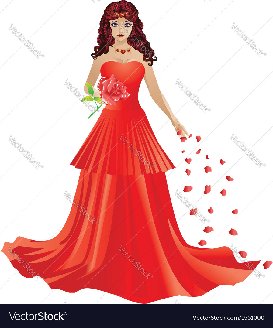 Red haired girl in red dress vector | Price: 1 Credit (USD $1)
