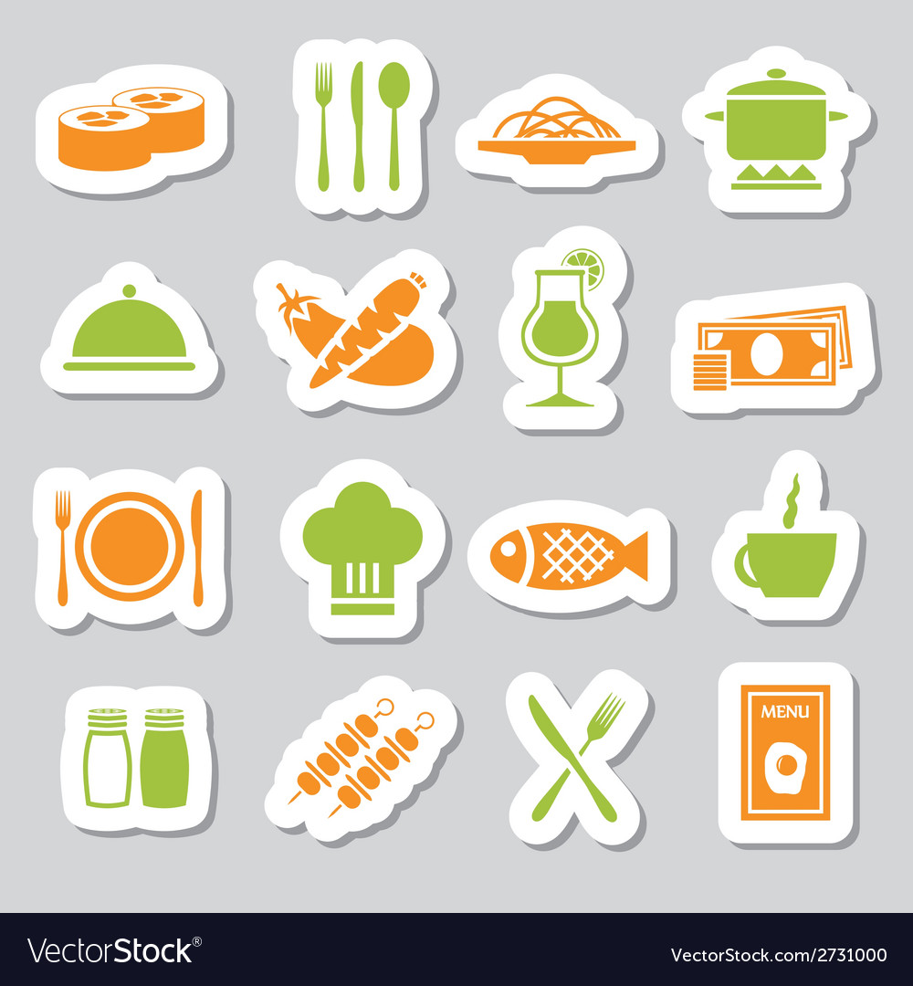 Restaurant stickers vector | Price: 1 Credit (USD $1)