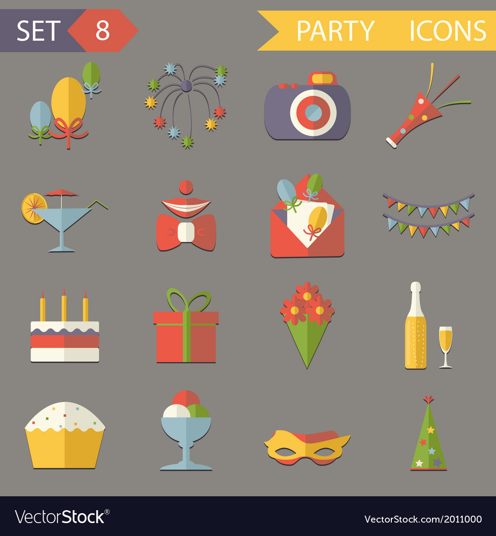 Retro flat birthday party celebrate icons and vector | Price: 1 Credit (USD $1)