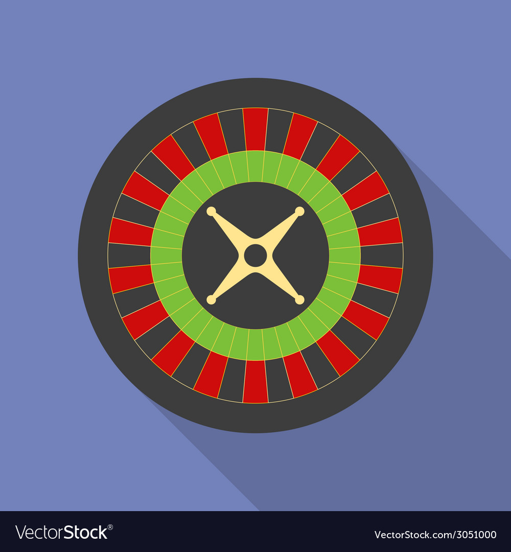 Roulette icon modern flat style with a long shadow vector | Price: 1 Credit (USD $1)