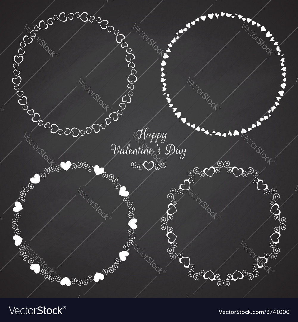 Set of circle cute frames for the st valentines vector | Price: 1 Credit (USD $1)