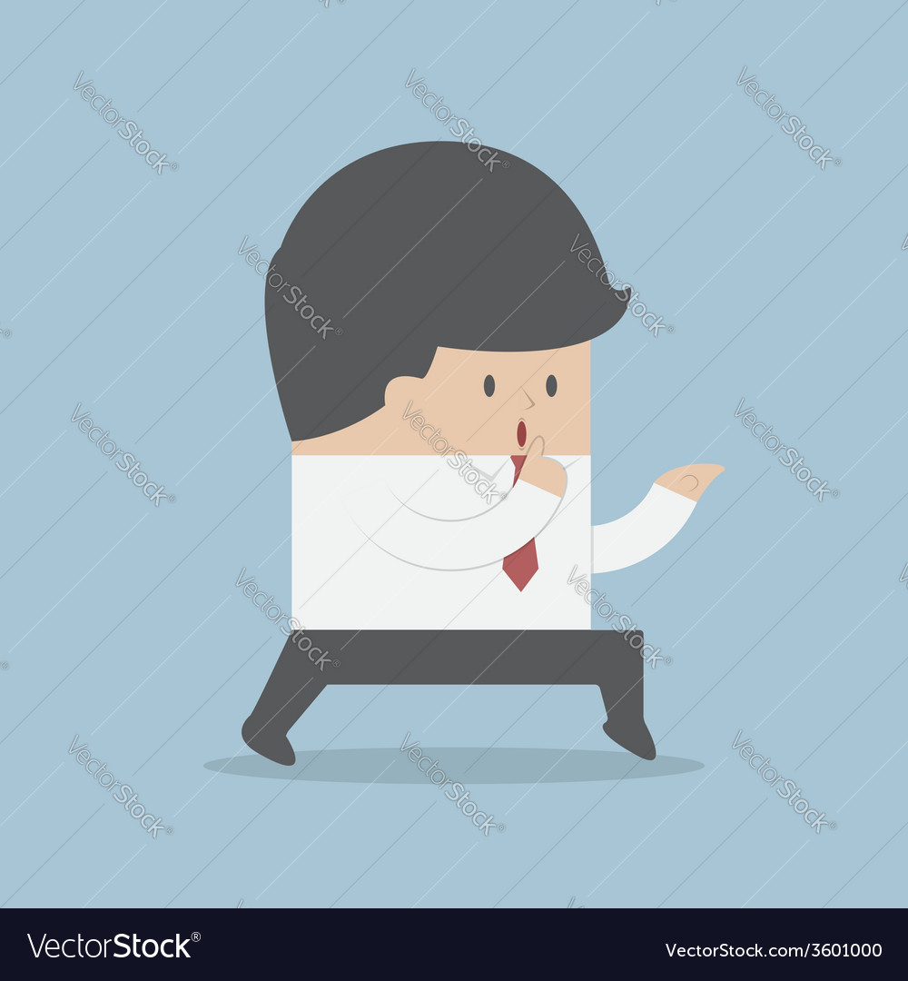 Sneaking businessman finger on lips vector   Price: 1 Credit (USD $1)