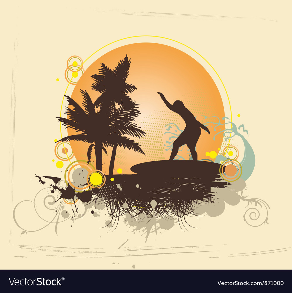 Summer with surfer vector | Price: 1 Credit (USD $1)