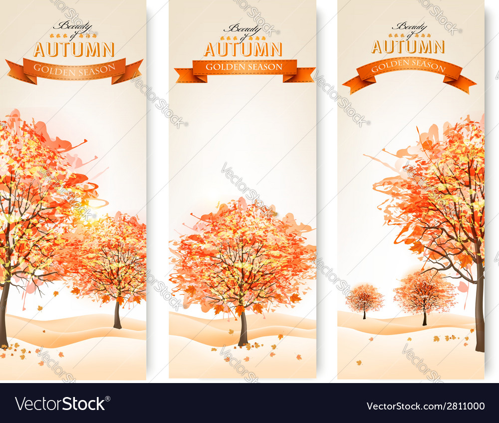 Three autumn abstract banners with colorful leaves vector | Price: 3 Credit (USD $3)