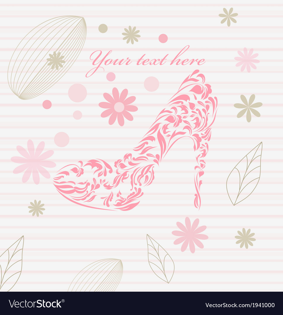 Vintage floral greeting card shoes vector | Price: 1 Credit (USD $1)