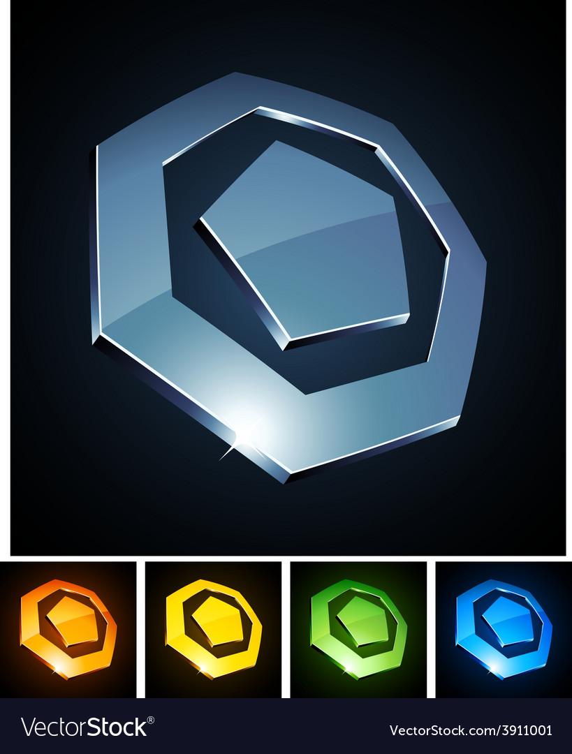 3d heptagonal emblems vector | Price: 1 Credit (USD $1)