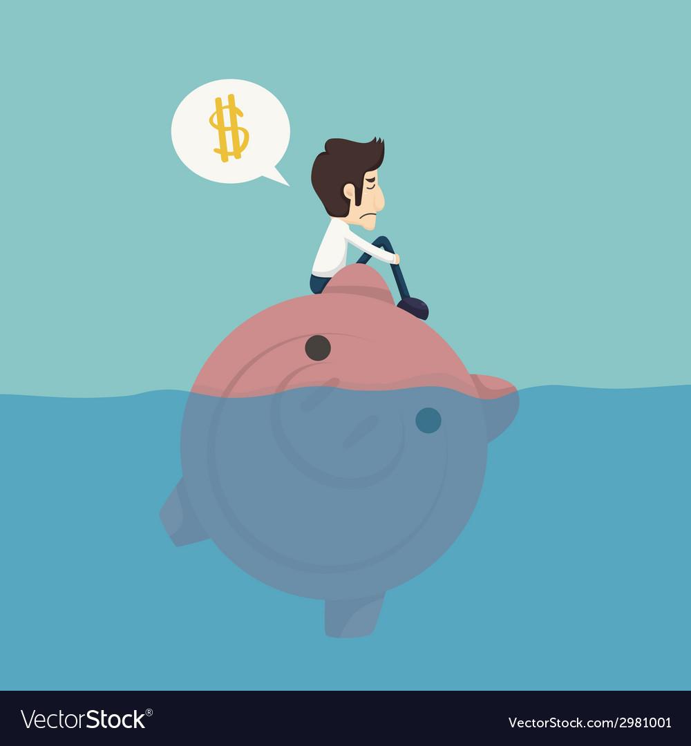 Businessman sitting on a piggybank businessman no vector   Price: 1 Credit (USD $1)