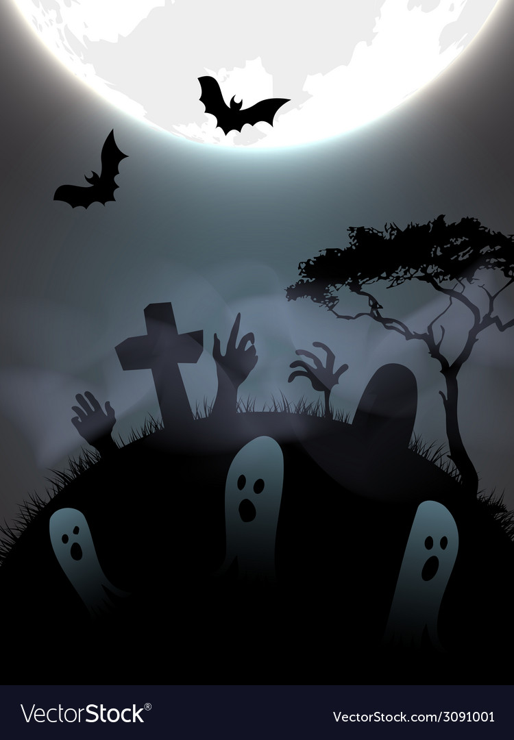 Halloween graveyeard vector | Price: 1 Credit (USD $1)